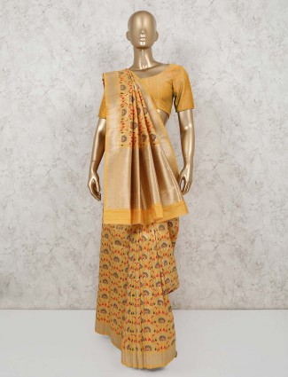 Yellow semi banarasi silk saree for festivals