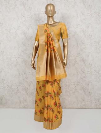 Yellow semi banarasi silk saree for party