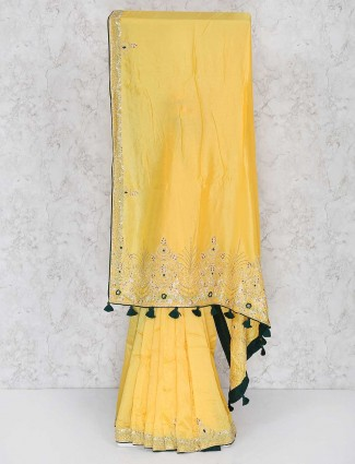 Yellow semi silk fabric festival saree