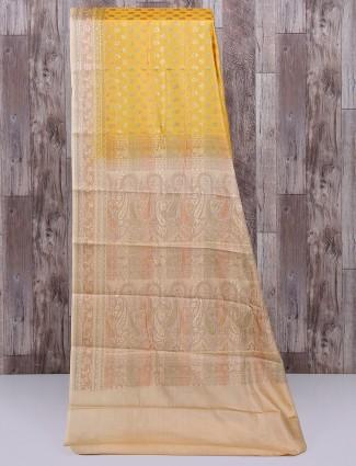 Yellow semi silk stunning saree