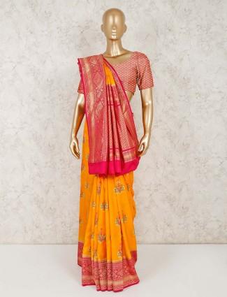 Yellow semi silk wedding ceremony saree