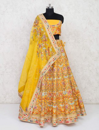 Yellow semi stitched lehenga choli in silk wedding