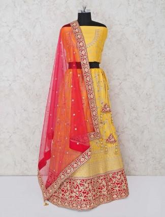 Yellow semi stitched silk lehenga choli