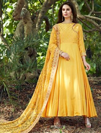 Yellow silk anarkali suit for wedding fuction