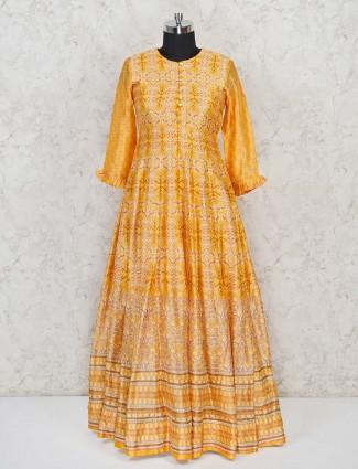 Yellow silk anarkali with traditional print