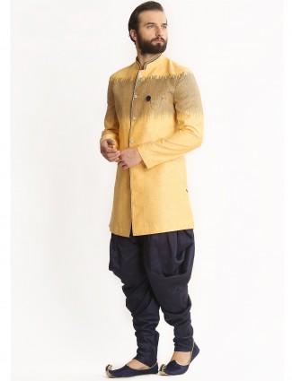 Yellow silk dressy indo western