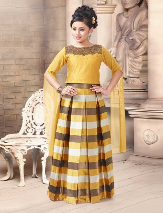 Yellow silk fabric lehenga choli for party wear