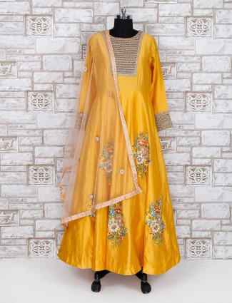 Yellow silk fabric wedding anarkali suit