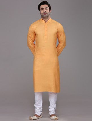 Orange silk farbic festive wear kurta suit