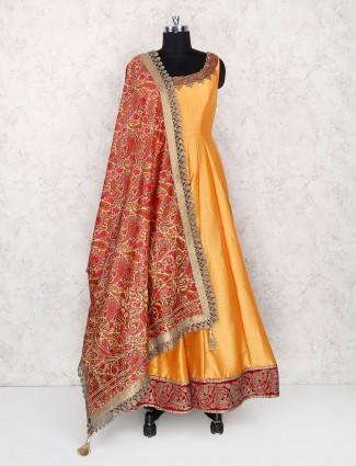Yellow silk floor length anarkali salwar suit