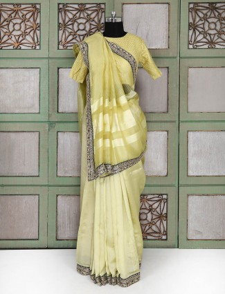 Light green silk party wear saree with ready made blouse