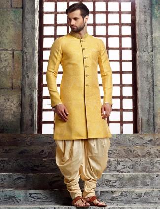 Yellow silk wedding kurta suit
