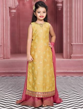 Yellow silk wedding wear palazzo suit