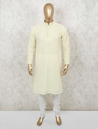 Yellow sober cotton kurta suit