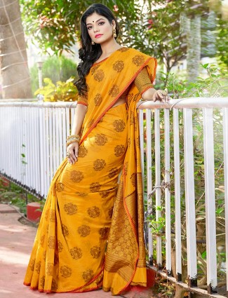 Yellow soft cotton silk saree for weddings