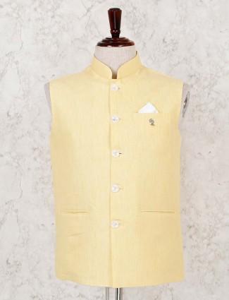 Yellow solid cotton linen sleeveless waistcoat