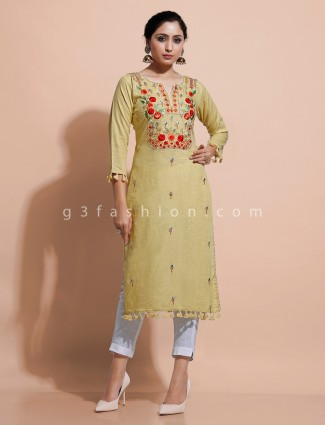 Yellow straight cut kurti for festive with thread work