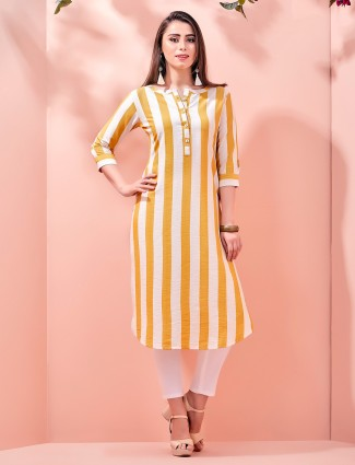 Yellow stripes cotton kurti for festival