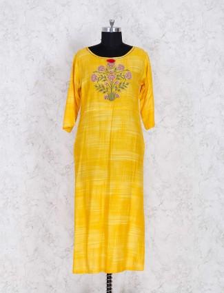 Yellow thread cotton kurti set