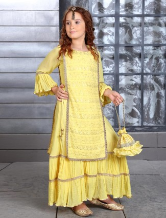Yellow thread work georgette sharara suit