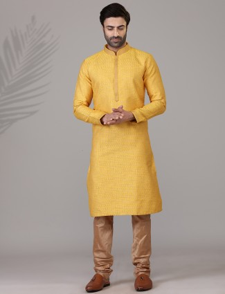 Yellow threwad woven cotton silk festive wear kurta suit