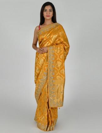 Yellow tussar silk haldi function saree
