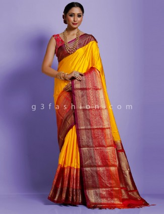 Yellow twill silk designer saree with weaving