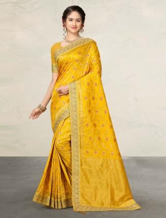 Yellow wedding banarasi silk saree