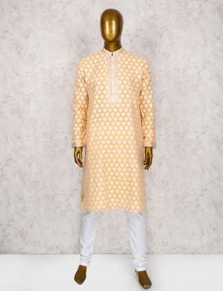 Pestal orange wedding cotton silk kurta suit