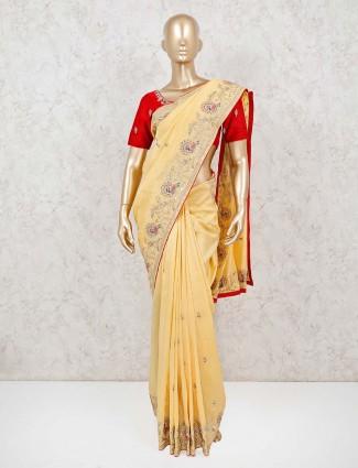 Yellow wedding occasion saree in muga silk