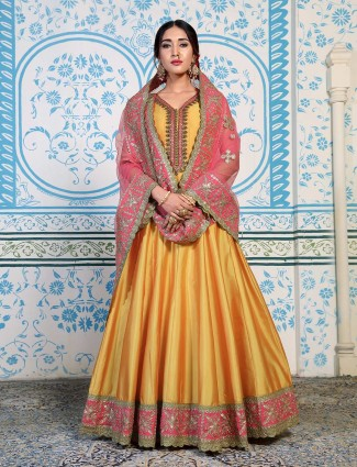 Yellow wedding v neck anarkali salwar suit