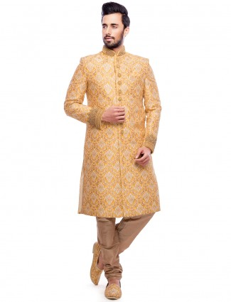 Yellow wedding wear attractive sherwani