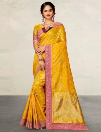 Yellow wedding wear silk saree