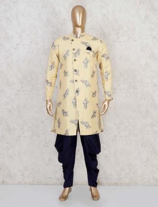 Yellow zari weaving terry rayon indo western