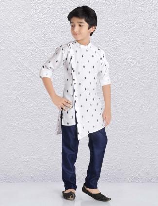 Yellow ziiter pattern boys kurta suit