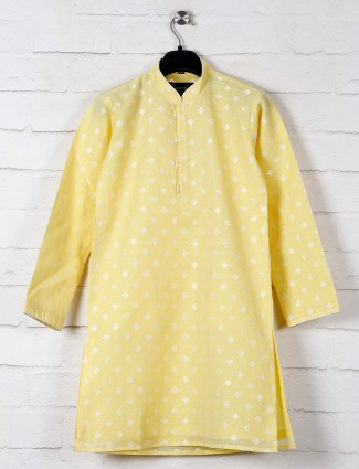 Yellow zitter patern cotton kurta suit