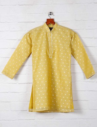 Yellow zitter patern kurta suit for boys