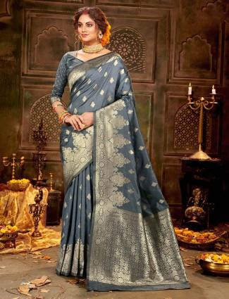Zari weave soft banarasi silk saree for weddings