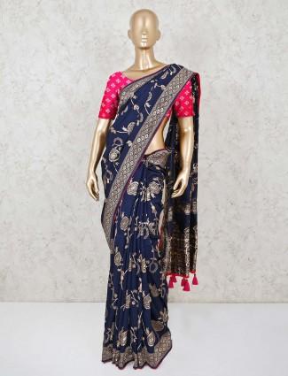 Zari weaving navy dola silk saree