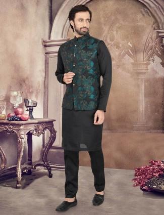 Zari woven black cotton silk waistcoat set