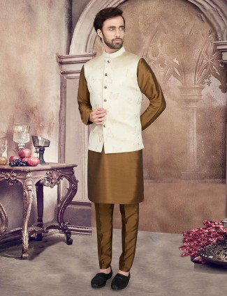 Zari woven cream and olive mens waistcoat set