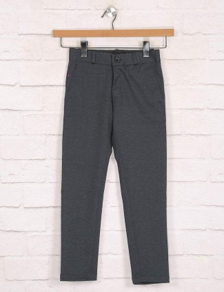 Zillian black cotton casual boys trouser