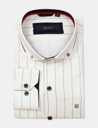 Zillian cream formal shirt for mens in stripe patern