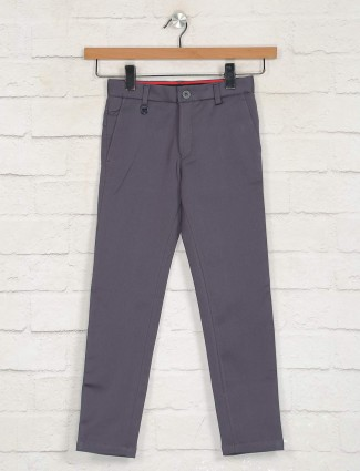 Zillian dark grey solid casual boys trouser
