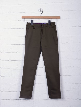 Zillian dark olive casual trouser
