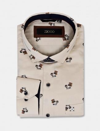 Zillian flower printed cream cotton shirt