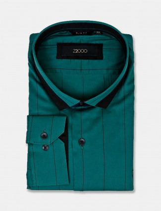 Zillian full sleeves green stripe cotton shirt