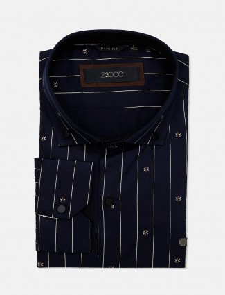 Zillian navy formal shirt for mens in stripe patern