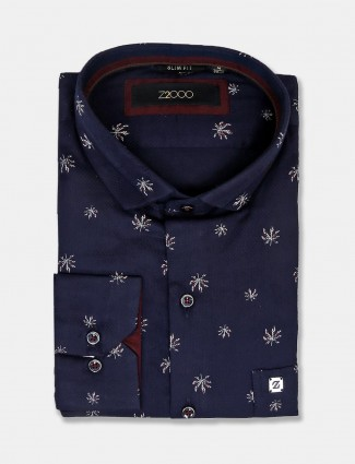 Zillian navy printed shirt for mens