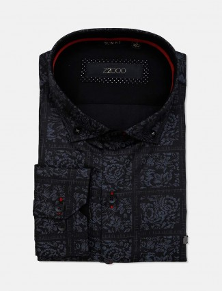 Zillian printed cotton black formal shirt